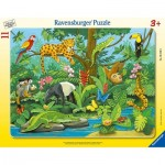 Ravensburger-05140 Rahmenpuzzle - Tiere des Regenwaldes