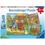 Ravensburger-05150 3 Puzzles - Mittelalter
