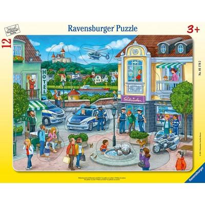 Ravensburger-05176 Rahmenpuzzle - Polizeieinsatz mit Hannah und Erik