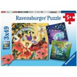 Ravensburger-05181 3 Puzzles - Unicorn, Dragon and Fairies