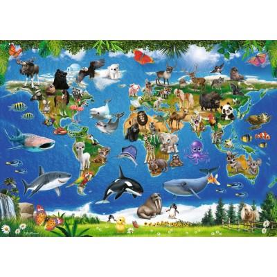 Ravensburger-05555 Riesen-Bodenpuzzle - Tiere rund um die Welt