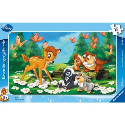 Ravensburger-06039 15 Teile Rahmenpuzzle - Bambi und seine Freunde