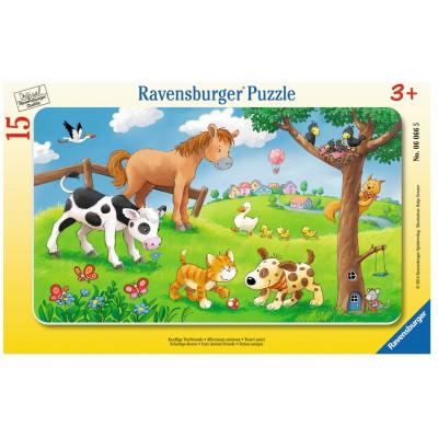 Ravensburger-06066 Rahmenpuzzle - Knuffige Tierfreunde