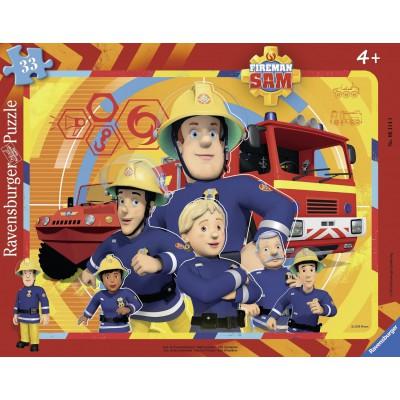 Ravensburger-06114 Rahmenpuzzle - Feuerwehrmann Sam
