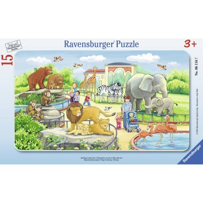 Ravensburger-06116 Rahmenpuzzle - Ausflug in den Zoo