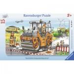 Ravensburger-06139 Rahmenpuzzle - Arbeit mit Straßenwalze