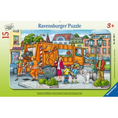 Ravensburger-06162 Rahmenpuzzle - Unterwegs mit der Müllabfuhr