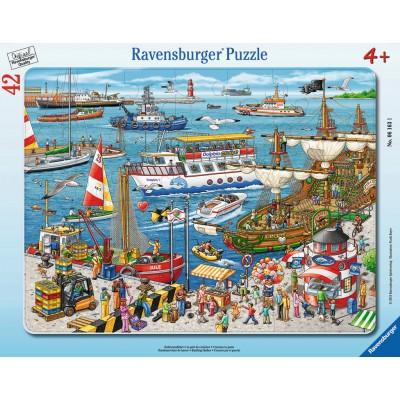 Ravensburger-06163 Rahmenpuzzle - Hafenrundfahrt