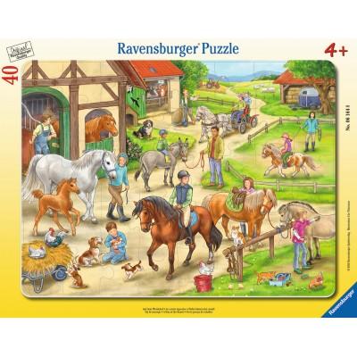 Ravensburger-06164 Rahmenpuzzle - Auf dem Pferdehof