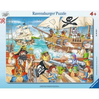Ravensburger-06165 Rahmenpuzzle - Angriff der Piraten