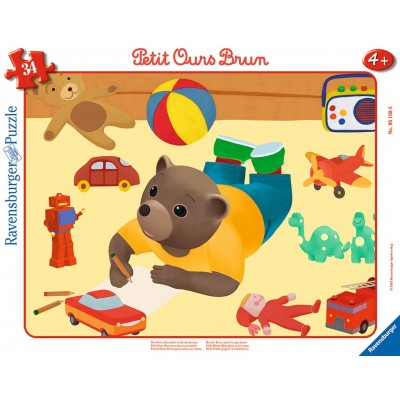 Ravensburger-06168 Rahmenpuzzle - Der Kleine Braunbär