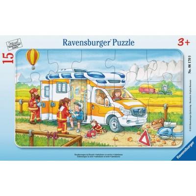 Ravensburger-06170 Rahmenpuzzle - Krankenwagen im Einsatz