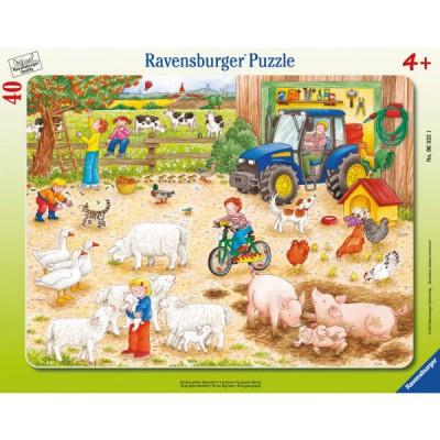 Ravensburger-06332 Puzzle 40 Teile Rahmenpuzzle - Auf dem großen Bauernhof