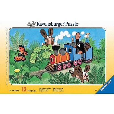 Ravensburger-06349 15 Teile Rahmenpuzzle - Der Maulwurf als Lokführer