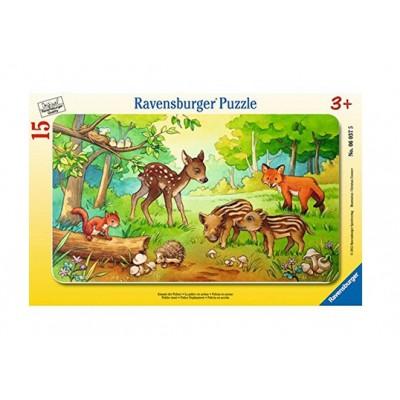 Ravensburger-06376 Rahmenpuzzle - Tierkinder des Waldes