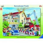 Ravensburger-06393 39 Teile Rahmenpuzzle - Die Feuerwehr rückt aus