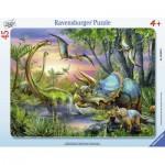 Ravensburger-06633 Rahmenpuzzle - Friedliche Dinosaurier