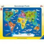 Ravensburger-06641 30 Teile Rahmenpuzzle - Weltkarte mit Tieren