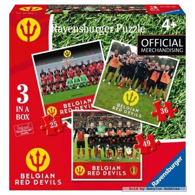 Ravensburger-06852 3 Puzzles - Belgian Red Devils 2016