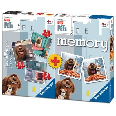 Ravensburger-06872 3 Puzzles The Secret Life of Pets + Memory