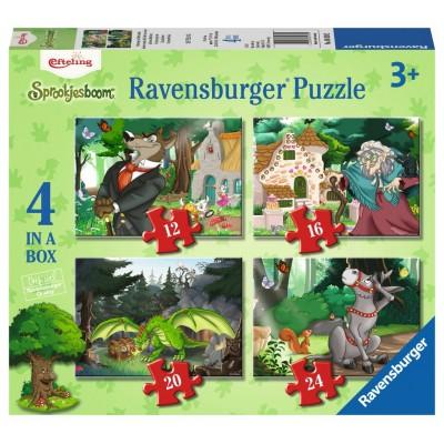 Ravensburger-06939 4 Puzzles - Unterwegs im Märchenwald