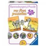 Ravensburger-06943 9 Puzzles - Süße Tierfamilien