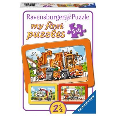 Ravensburger-06944 My First Puzzle - Müllabfuhr, Krankenwagen, Abschleppwagen