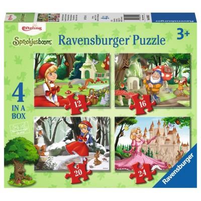 Ravensburger-06945 4 Puzzles - Enchanting Märchenwald