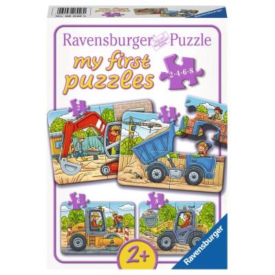 Ravensburger-06946 4 Puzzles - My First Puzzles - Meine liebsten Baustellenfahrzeuge
