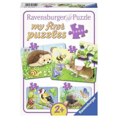Ravensburger-06952 4 Puzzles - Süße Gartenbewohner