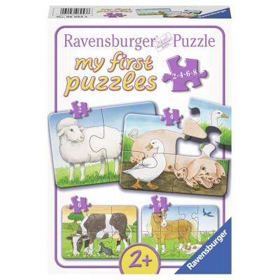 Ravensburger-06953 4 Puzzles - Liebenswerte Bauernhoftiere