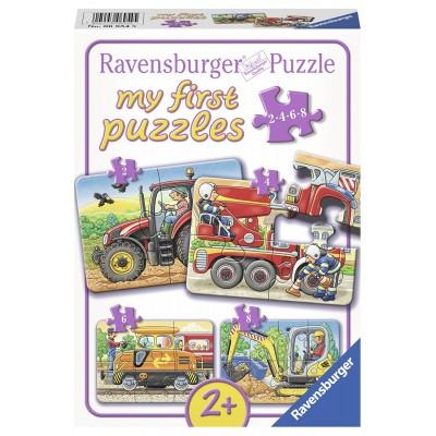 Ravensburger-06954 4 Puzzles - Bei der Arbeit