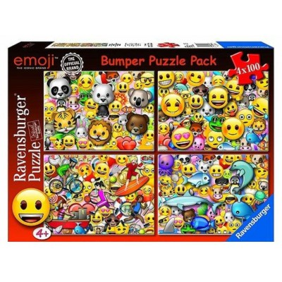 Ravensburger-06967 4 Puzzles - Emoji