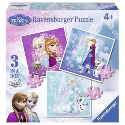 Ravensburger-07003 3 Puzzles - Frozen