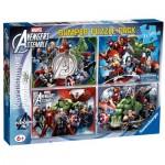 Ravensburger-07076 4 Puzzles - Marvel