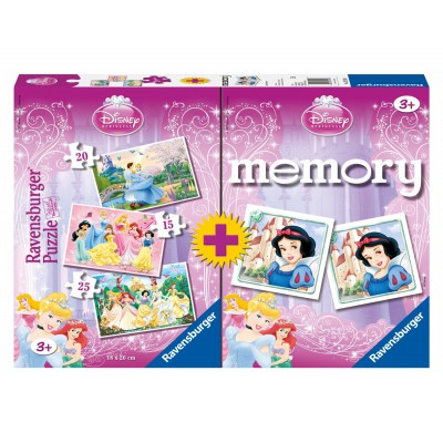 Ravensburger-07228 3 Puzzles + Memory - Prinzessinnen