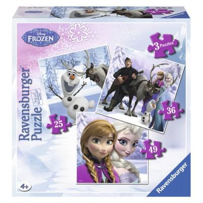 Ravensburger-07276 3 Puzzles - Frozen - Die Eiskönigin