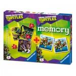 Ravensburger-07287 3 Puzzles Ninja Turtles + Memory