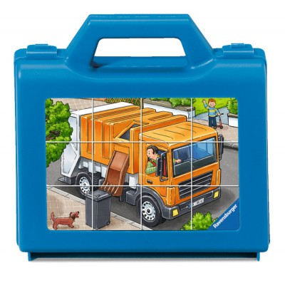 Ravensburger-07406 Würfelpuzzles - Meine liebsten Fahrzeuge