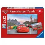 Ravensburger-07554 2 Puzzles - Cars in Paris und London