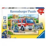 Puzzle  Ravensburger-07574 Polizei und Feuerwehr