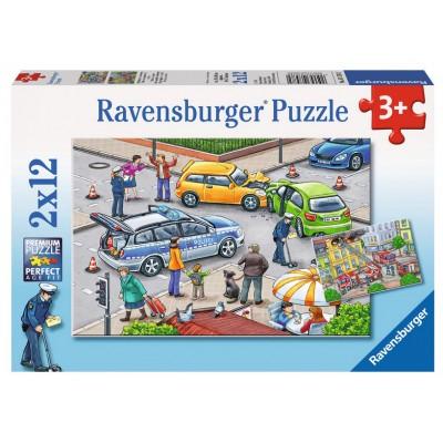 Puzzle  Ravensburger-07578 Mit Blaulicht unterwegs