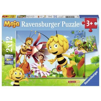 Ravensburger-07594 2 Puzzles - Biene Maja