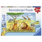 Ravensburger-07606 2 Puzzles - Elefant, Löwe & Co.