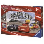Ravensburger-07609 2 Puzzles - Cars 3