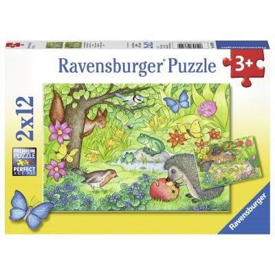 Ravensburger-07610 2 Puzzles - Tiere in Unserem Garten