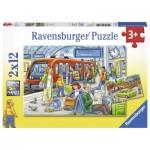 Ravensburger-07611 2 Puzzles - Bitte einsteigen!