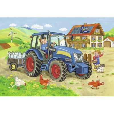 Ravensburger-07616 2 Puzzles - Baustelle und Bauernhof