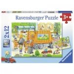 Ravensburger-07617 2 Puzzles - Müllabfuhr & Kehrmaschine