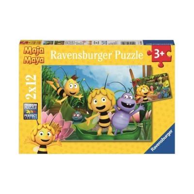 Ravensburger-07624 2 Puzzles - Ausflug mit Biene Maja